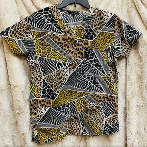 Animal print scrub top